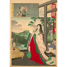 豊原周延: Edo Embroidery Picture, Comparison of Day and Night: Ono no Komachi (Azuma Nishiki Chuya Kurabe: Ono no Komachi) - Scholten Japanese Art