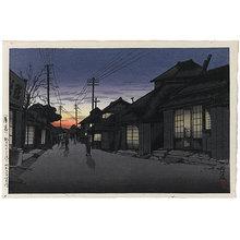 Tsuchiya Koitsu: Twilight at Imamiya Street, Choshi (Hakubo: Choshi Machi Imamiya Dori) - Scholten Japanese Art