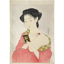 Hashiguchi Goyo: woman applying powder (kesho no onna) - Scholten Japanese Art