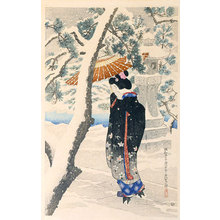 伊東深水: The First Series of Modern Beauties: Snow at the Shrine (Gendai bijinshu dai-isshu: Shato no yuki) - Scholten Japanese Art