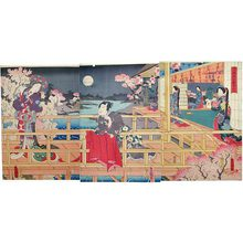 Utagawa Kunisada: Evening Cherry Blossom Viewing in the Pleasure Quarters, 1854 - Scholten Japanese Art