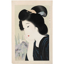 Kondo Shiun: Collection of New Ukiyo-e Style Beauties: June, Irises (Shin Ukiyo-e Bijin Awase: Roku-Gatsu, Shobu) - Scholten Japanese Art