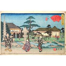 歌川広重: Collection of Famous Edo Teahouses: The Daishichi Teahouse at Mukojima (Edo Komei Kaitei Zu: Mukojima, Daishichi) - Scholten Japanese Art