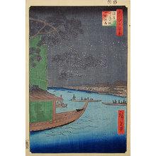 歌川広重: One Hundred Famous Views of Edo: 'Good Results Pine' at Ommaya Bank, Asakusa River (Meisho Edo hyakkei: Asakusa-gawa, Shubi-no-matsu, Ommaya-gashi) - Scholten Japanese Art