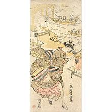 Torii Kiyomitsu: girl in the wind - Scholten Japanese Art