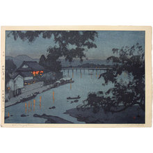 吉田博: Evening on the Chikugo River, Hita (blue variant) (Hita Chikagogawa no yoru) - Scholten Japanese Art