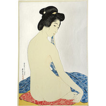 Hashiguchi Goyo: Woman after a Bath (mica ground) (Yokugo no onna) - Scholten Japanese Art