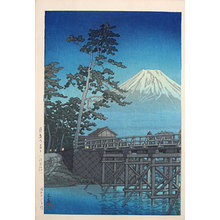 川瀬巴水: Mt. Fuji in Moonlight, Kawai Bridge (Tsukiyo no Fuji, Kawaibashi) - Scholten Japanese Art
