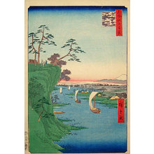 歌川広重: One Hundred Famous Views of Edo: View of Tone River at Konodai (Meisho Edo hyakkei: Konodai, Tone-gawa fukei) - Scholten Japanese Art