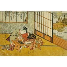 Isoda Koryusai: Prosperous Flowers of the Elegant Twelve Seasons: young boy rubbing an ink-stick on an ink-stone, while his partner sleeps - Scholten Japanese Art