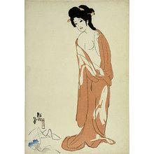 北野恒富: Seasons of the Pleasure Quarters: no. 1, Nanchi in Autumn, After a Bath (Kuruwa no shunju: Dai-ichi Aki [Nanchi], Yuagari) - Scholten Japanese Art
