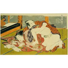 Isoda Koryusai: Twelve Bouts of Sensuality: courtesan writing a letter as her partner approaches from behind - Scholten Japanese Art