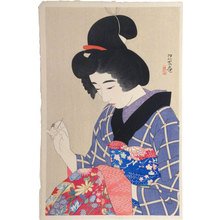 Ito Shinsui: The First Series of Modern Beauties: A Collar for an Undergarment (Gendai bijinshu dai-isshu: Han-eri) - Scholten Japanese Art