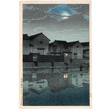 川瀬巴水: Souvenirs of Travel, Third Series: Matsue in Izumo: Hazy Moon (Tabi miyage dai sanshu: Izumo Matsue: Oborozuki) - Scholten Japanese Art