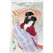 Ito Shinsui: The Second Series of Modern Beauties: Snowstorm (Gendai bijinshu dai-nishu: Fubuki) - Scholten Japanese Art