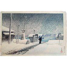 川瀬巴水: Twenty Views of Tokyo: Snow at Tsukijima (Tokyo Nijukkei: Tsukijima no yuki) - Scholten Japanese Art