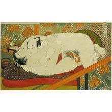 Isoda Koryusai: Twelve Bouts of Sensuality: couple making love as they anticipate their sushi dinner - Scholten Japanese Art