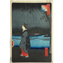 歌川広重: One Hundred Famous Views of Edo: Night View of Sanya Canal, Matsuchi Hill (Meisho Edo hyakkei: Matsuchi-yama, San-ya-bori yakei) - Scholten Japanese Art