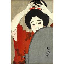 北野恒富: no. 4, Shinchi in Winter, Before the Mirror (Dai-yon, fuyu [Shinchi], Kagami no mae) - Scholten Japanese Art