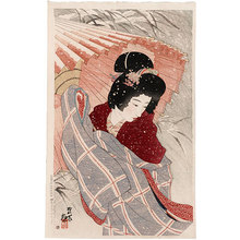 伊東深水: The Second Series of Modern Beauties: Snowstorm (Gendai bijinshu dai-nishu: Fubuki) - Scholten Japanese Art