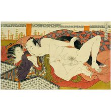 Isoda Koryusai: Twelve Bouts of Sensuality: man kissing partner's breast - Scholten Japanese Art