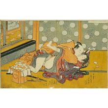 磯田湖龍齋: Prosperous Flowers of the Elegant Twelve Seasons: couple wildly making love in front of a mochi stand - Scholten Japanese Art