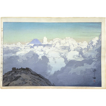Yoshida Hiroshi: The Southern Japan Alps Series: From the Summit of Komagatake (green-blue variant) (Nihon Minami Alps Shu: Komagatake sancho yori) - Scholten Japanese Art