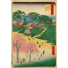 歌川広重: One Hundred Famous Views of Edo: Nippori Temple Gardens (Meisho Edo hyakkei: Nippori, jiin no rinsen) - Scholten Japanese Art