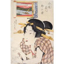 Keisai Eisen: Twelve Views of Modern Beauties: The Amused Type, Sumida River (Imayo Bijin Junikei: Omoshiroso, Sumidagawa) - Scholten Japanese Art