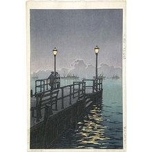 川瀬巴水: Collection of scenic views of Japan, eastern Japan edition: Pier at Otaru (Nihon fukei shu higashi Nihon hen: Otaru no hatoba) - Scholten Japanese Art