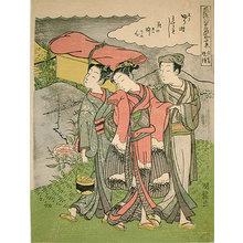 磯田湖龍齋: Ten Fashionable Views of Famous Places in Edo: Evening Bell at Nippori (Furyu Edo meisho jukkei: Nichibo bansho) - Scholten Japanese Art
