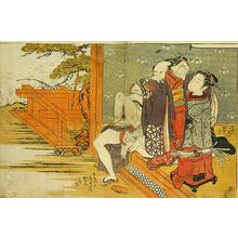 磯田湖龍齋: Prosperous Flowers of the Elegant Twelve Seasons: young girl watching couple making love sitting up on the veranda - Scholten Japanese Art