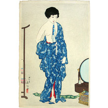 名取春仙: Three Beauties by Shunsen: After a Bath (Shunsen bijin sanshi: Yokugo) - Scholten Japanese Art