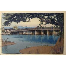 吉田博: Kansai District: Seta Bridge (Kansai: Seta no karahashi) - Scholten Japanese Art