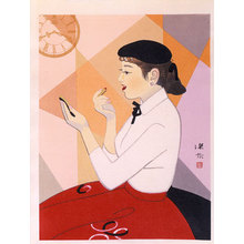 伊東深水: Clock and Beauty, no. IV (Tokei to bijin, IV) - Scholten Japanese Art