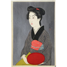 橋口五葉: Woman Holding a Tray - Scholten Japanese Art
