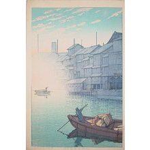 川瀬巴水: Collection of scenic views of Japan II, Kansai edition: Morning at Dotonbori in Osaka (Nihon fukei shu II Kansai hen: Osaka dotonburi no asa) - Scholten Japanese Art
