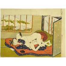 Isoda Koryusai: couple making love in front of a plum blossom screen with Mt. Fuji visible through a window - Scholten Japanese Art