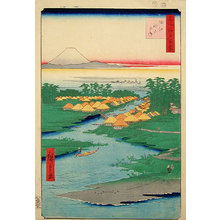Utagawa Hiroshige: One Hundred Famous Views of Edo: Nekozane at Horikiri Canal (Meisho Edo hyakkei: Horie, Nekozane) - Scholten Japanese Art