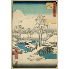 Utagawa Hiroshige: Pictures of Famous Places on the Fifty-Three Stations [Vertical Tokaido]: Mt. Fuji and Mt. Ashigara from the Numazu in Clear Weather After Snowfall (Gojusan tsugi meisho zue: Numazu ashigarayama fuji yukibara) - Scholten Japanese Art