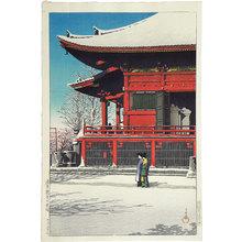 川瀬巴水: Twenty Views of Tokyo: Clearing After a Snowfall at the Asakusa Kannon Temple (Tokyo Nijukkei: Asakusa Kannon no yukibare) - Scholten Japanese Art