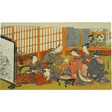 Isoda Koryusai: Twelve Bouts of Sensuality: frontispiece depicting a gathering - Scholten Japanese Art