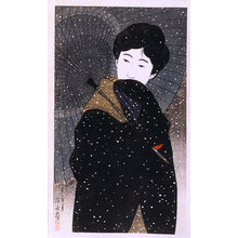 Ito Shinsui: Twelve Images of Modern Beauties: SnowyNight (Shin bijin junisugata: Yuki no yo) - Scholten Japanese Art