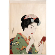 橋口五葉: Girl Holding Lipstick (Benifude Moteru Onna) - Scholten Japanese Art