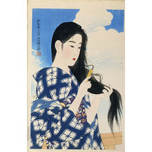 Ito Shinsui: The Second Series of Modern Beauties: After Washing her Hair (Gendai bijinshu dai-nishu: Araigami) - Scholten Japanese Art