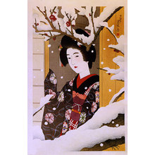 Ito Shinsui: Beauty Admiring Red Blossoms in Snow (Yuki no kobai o miru shojo) - Scholten Japanese Art
