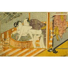 Isoda Koryusai: Prosperous Flowers of the Elegant Twelve Seasons: couple making love in front of the ofuro (bathtub) - Scholten Japanese Art