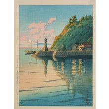 川瀬巴水: Selection of Scenes from Japan: Morning at Mihogaseki (Nihon fukei senshu: Izumo Mihogaseki no asa) - Scholten Japanese Art