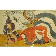 磯田湖龍齋: Prosperous Flowers of the Elegant Twelve Seasons: young woman watching a man in a fox-mask making love to his partner under a cherry tree - Scholten Japanese Art