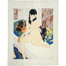 Ishikawa Toraji: Ten Types of Female Nudes: Black Cat (Rajo jusshu: Yokushitsu nite) - Scholten Japanese Art